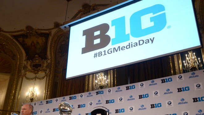 Big Ten Commissioner Jim Delany talks to the media during a past media day event.