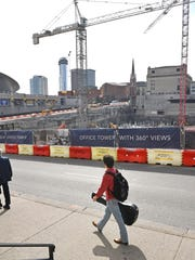 Tourism officials in NashvilleÊhave given theÊtransit proposal their endorsement, butÊdowntown business owners have mixed outlooks for the massive projectÊand whether it will benefit downtown or the city overall. Construction at Fifth and Broadway where the old convention center was is ongoing. Thursday Feb. 15, 2018, in Nashville, Tenn