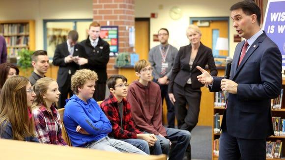 Gov. Scott Walker speaks at Platteville Middle School in Platteville earlier this year.