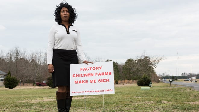 Monica Brooks, of Concerned Citizens Against CAFOs, stands along Naylor Mill Road with her sign on Wednesday, Feb. 3, 2016.
