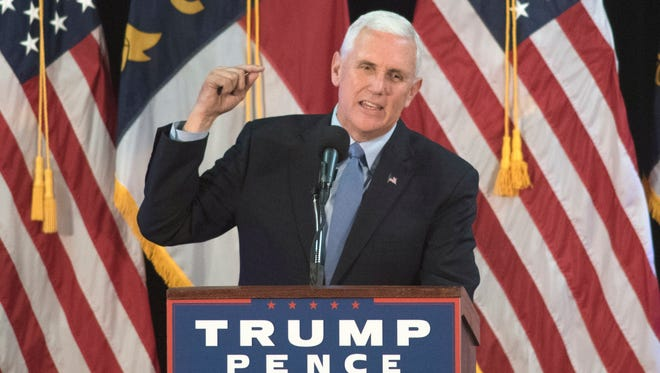 Republican vice presidential candidate Gov. Mike Pence speaks at the Coastline Conference & Event Center during a campaign rally in Wilmington, N.C., , Oct. 18, 2016.