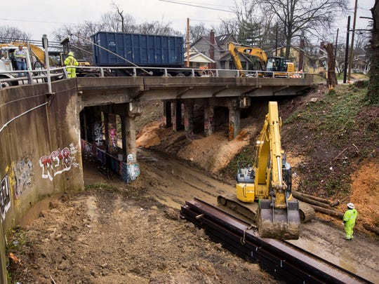 Demolition on the Marburg Bridge at Marburg Avenue and Wasson Road in Hyde Park began Monday. The bridge was built in 1931 by the Norfolk & Western Railway and is being torn down due to deteriorating condition. It will take six months to tear the bridge down and put up a new one. It's one of 26 county bridges within the city limits and carries 14,000 vehicles per day.