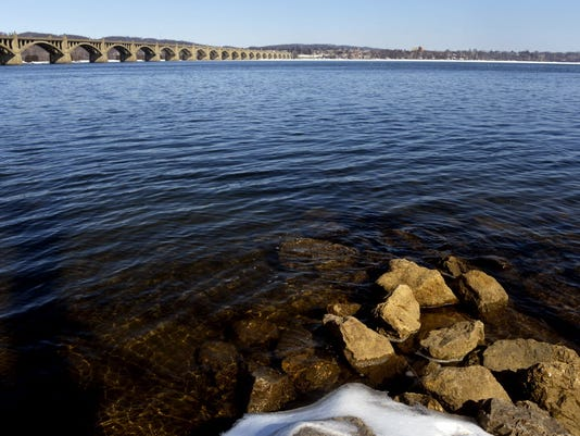 Eastward view of the Susquehanna River from a Wrightsville boat access, taken Friday, Feb. 27, 2015.