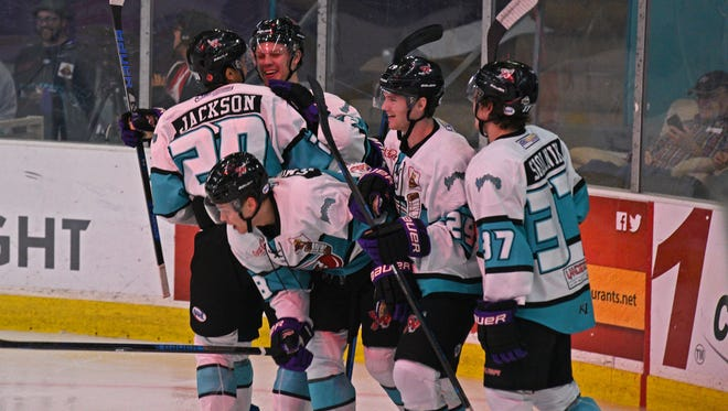 The Shreveport Mudbugs celebrate the second goal of their game against Amarillo Friday at The Pond.