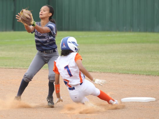 San Angelo Central High School's Kaleigh Ochinang (1) slides safely into second base in the District 8-6A finale against Killeen Shoemaker at the Central Softball Complex on Friday, April 20, 2018.