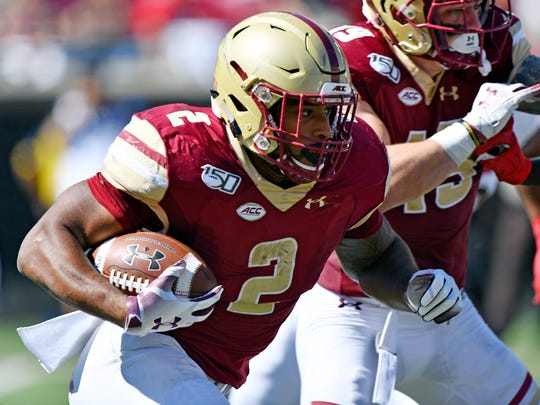 Boston College running back AJ Dillon is the Packers' highest drafted running back since Eddie Lacy was picked No. 61 overall in 2013.