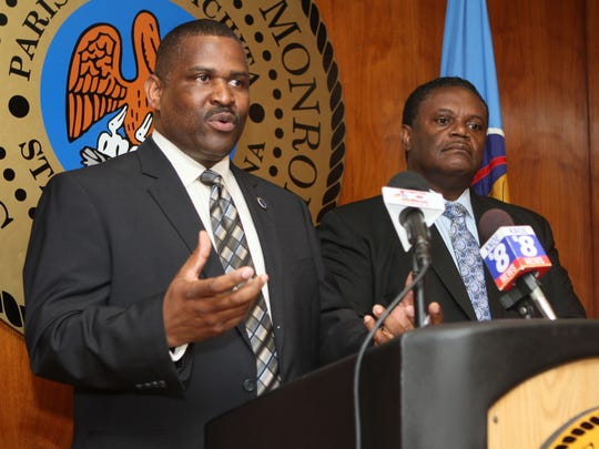 Monroe Mayor Jamie Mayo, right, holds a meeting Tuesday, Aug. 5, 2014, at City Hall in response to the Monroe Police Union?s Monday vote of no confidence in Chief Quentin Holmes as its leader. Mayor Mayo said the department was riddled with discipline problems, racism and back-biting while digging in with his support for the police chief.