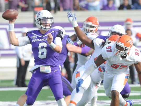 ACU quarterback Luke Anthony (6) throws a pass against Sam Houston State. Anthony started two games but will be the starter when the Wildcats open the 2018 season against Baylor.