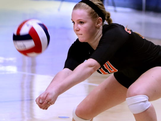 Cedarburg's Sophia Pahl returns a ball in the North