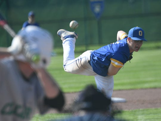 Ontario pitcher Andrew Cacchio delivers a pitch during the Warriors MOAC title clinching win on Monday