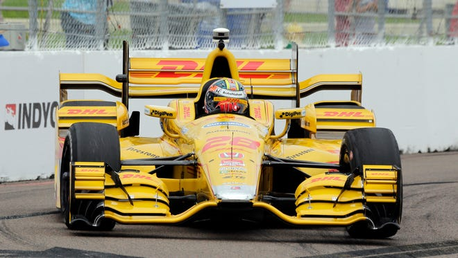 Ryan Hunter-Reay during practice for the IndyCar Firestone Grand Prix of St. Petersburg auto race March 27, 2015, in St. Petersburg, Fla.