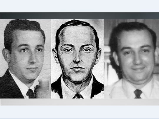 FBI composite of the D.B. Cooper suspect flanked by two pictures of Dick Lepsy.
