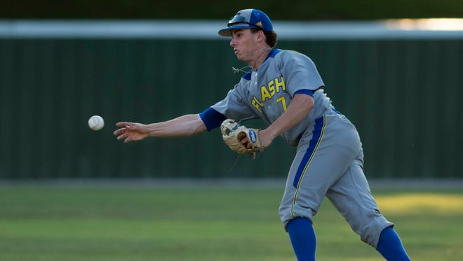 Henderson Flash second baseman Jacob Bowles finishes the force-out against the Dubois County Bombers at B.T. Wayne Field for their first home game of the season Friday evening.