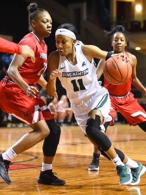 Imani Watkins, competing this season against Hartford, will lead Binghamton University into a second-round WBI game Tuesday night at the Events Center.
