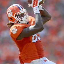 Regarded for his blocking, Clemson tight end Jay Jay McCullough's improvement as a receiver has earned him his first start.