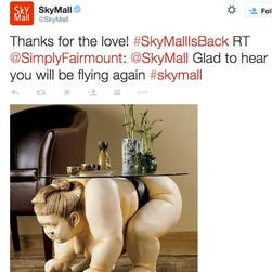 SkyMall is coming back to airplanes by the end of the year.