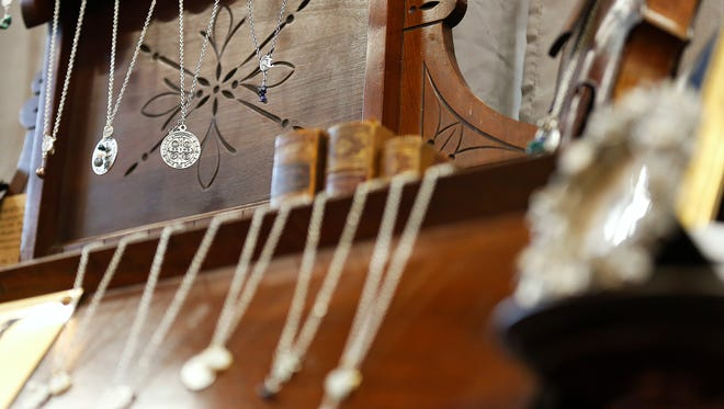 Jewelry on display at the Queen City Craft Show.