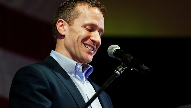Missouri Gov. Eric Greitens addresses attendees to his meet and greet event as part of Lincoln Days at the University Plaza Hotel in Springfield, Mo. on Feb. 25, 2017.