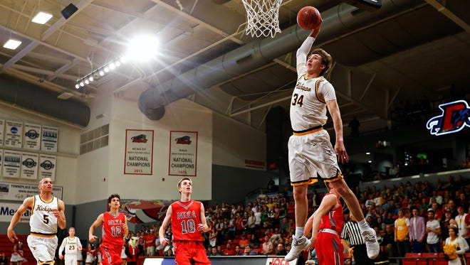 Jared Ridder goes up for a dunk while playing for Kickapoo. Ridder will be a redshirt freshman for the Bears this year.