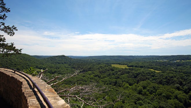 A lookout in Wildcat Mountain State Park provides a view of the surrounding Driftless Region.