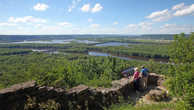 Trails at Wyalusing State Park provide views of the confluence of the Wisconsin and Mississippi rivers.