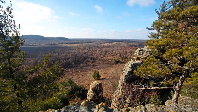 Lone Rock offers a view of the surrounding countryside in Quincy Bluff and Wetlands State Natural Area in Adams County.