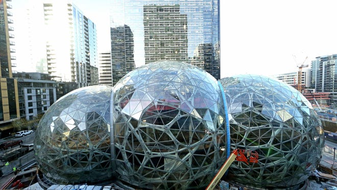 The Amazon Spheres, in downtown Seattle, are seen from the fifth floor of the Doppler Building, another Amazon building, in December 2016.