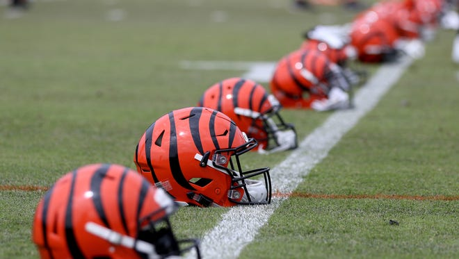 Bengals helmets during OTA 's (organized team activities) outside of Paul Brown Stadium Tuesday June 5, 2018.