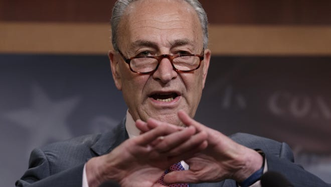 Senate Minority Leader Chuck Schumer of N.Y., speaks to reporters on Capitol Hill in Washington, Friday, July 28, 2017. Senate Democrats are unveiling a new set of trade policies aimed at appealing to working-class voters and regaining advantage on an issue Donald Trump seized to great effect during last year's presidential campaign. (AP Photo/J. Scott Applewhite)