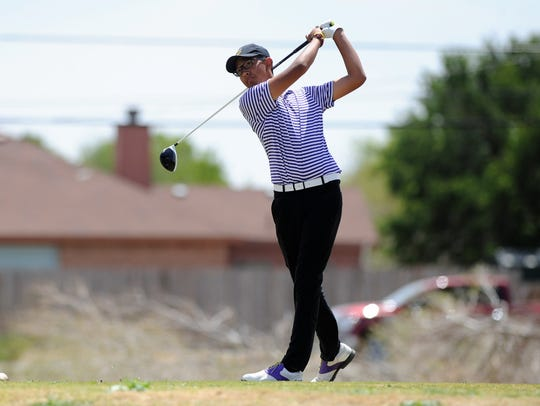 Wylie's Phillip Hurtado tees off during the second day of the Region I-4A tournament at the Shadow Hills Golf Club on Tuesday. Hurtado finished tied for 11th as the Bulldogs took fifth.