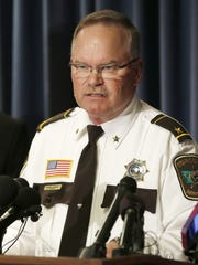Stearns County Sheriff John Sanner takes questions