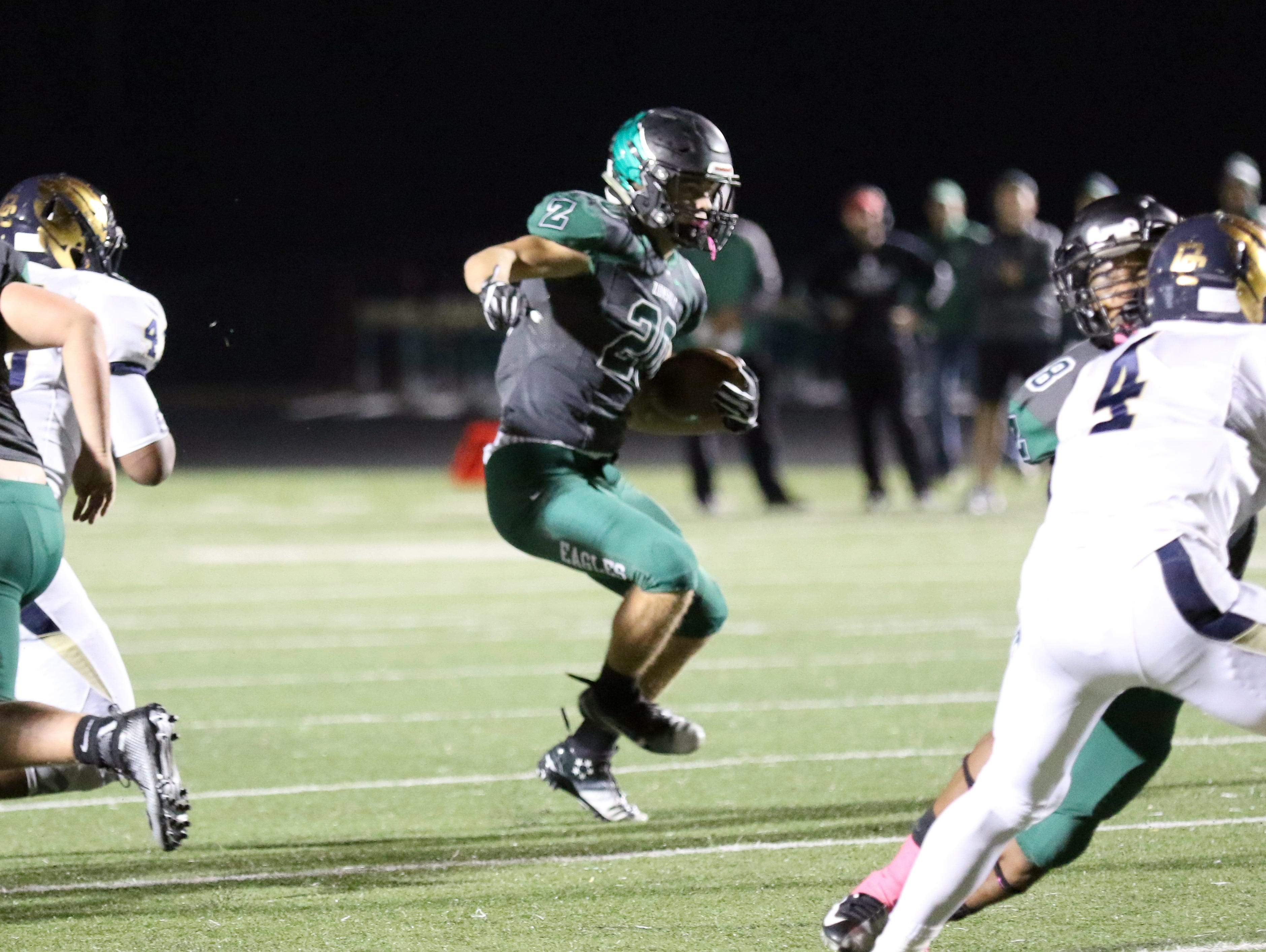 Zionsville's Brenden Mikesell rushed for four scores in the Eagles' win over Decatur Central on Friday.