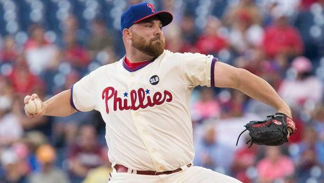 Phillies starting pitcher Sean O'Sullivan (47) pitches against the Arizona Diamondbacks during the first inning at Citizens Bank Park. Mandatory Credit: Bill Streicher-USA TODAY Sports