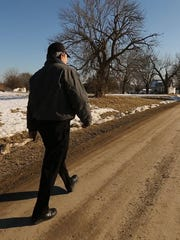 Steven Simoff of Davis City, Iowa leaves for work Friday Feb 13, 2015. Steven works at Lakeside Hotel and Casino in Osceola and walks the over 30 miles to work.