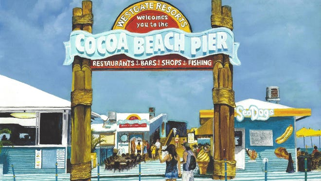 Michiel Bullock says he uses vacation trips to gather ideas from photos for future pieces. This one depicts the Cocoa Beach Pier.