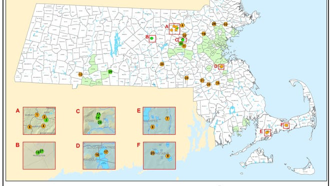 "Massachusetts increased its standards for the amount of ""forver chemicals,"" known as PFAS, allowed in water systems and communities marked in orange have levels that are too high on this map. A water filtration program in Norwell would remove them, although they have not been detected there."