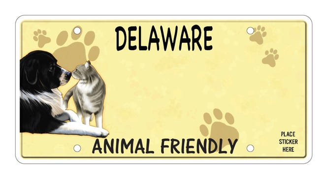 Delaware's new animal welfare license plate was unveiled last week. The plate sells for $50 at the Delaware Division of Motor Vehicles, with $35 going to provide spay and neuter surgeries for dogs and cats.