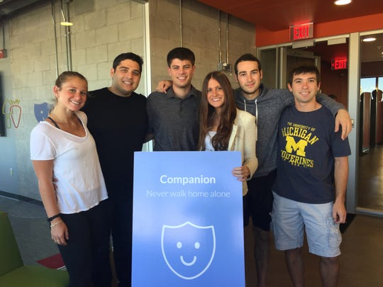 The young co-founders and helpers behind the new Companion smartphone app created at the University of Michigan. From left to right: Katie Reiner; Jake Wayne; Danny Freed; Lexie Ernst; Nathan Pilcowitz; Michael Ray