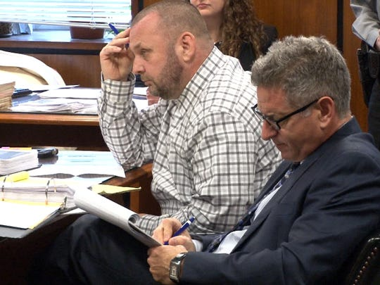 Alan Bienkowski (left) is shown with his attorney Michael Schreiber on the first day of his murder trial before  Superior Court Judge James M. Blaney in Toms River Tuesday, January 26, 2016.   He is charged with the murder of his 76-year-old neighbor, Anthony Verdicchio, in Manchester Township.