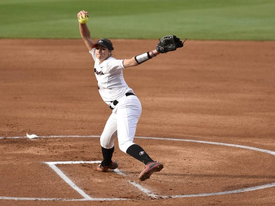 Georgia pitcher Chelsea Wilkinson pitches the ball during an NCAA softball game between Georgia and Texas A&M at Jack Turner Stadium on Friday, March 25, 2016, in Athens, Georgia.