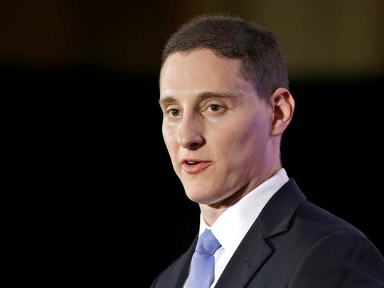 Then-State Treasurer Josh Mandel speaks at the Ohio Republican Party's 2014 election night celebration in Columbus, Ohio. Attorney General Dave Yost has found that Mandel skirted state law when he launched OhioCrypto.com last year for paying business taxes in Bitcoin.