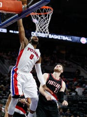 Pistons center Andre Drummond (0) makes a shot against