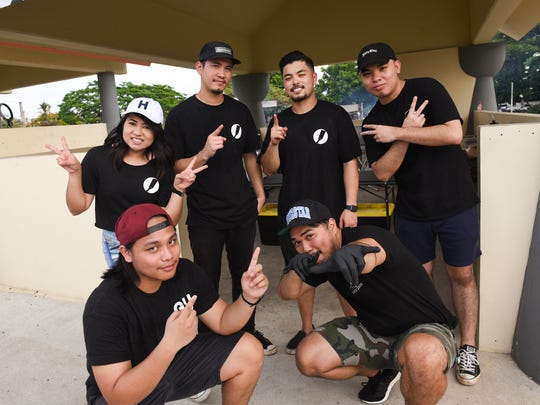 The Stax Sliders crew at their Chamorro Village stand on June 28, 2017. Top from left: Kat Mendiola, Justin Mendiola, Jose De Asis, Felix Mendoza. Bottom from left: Ryan Mercado and Brandon Fernandez.