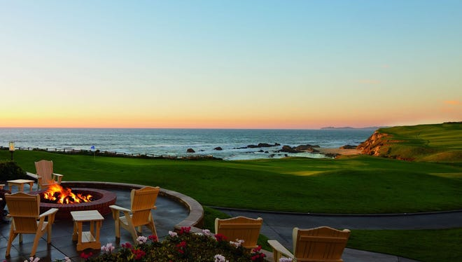 Fire pits on the ocean terrace, overlooking vast beaches, are perfect spots to relax at The Ritz-Carlton in Half Moon Bay.
