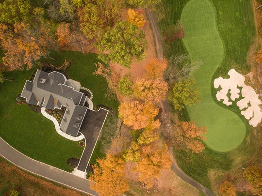 This aerial shot shows the home's proximity to the golf course at Hamilton Farms.