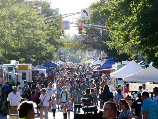 Crowds regularly flock downtown to enjoy Mosey Down