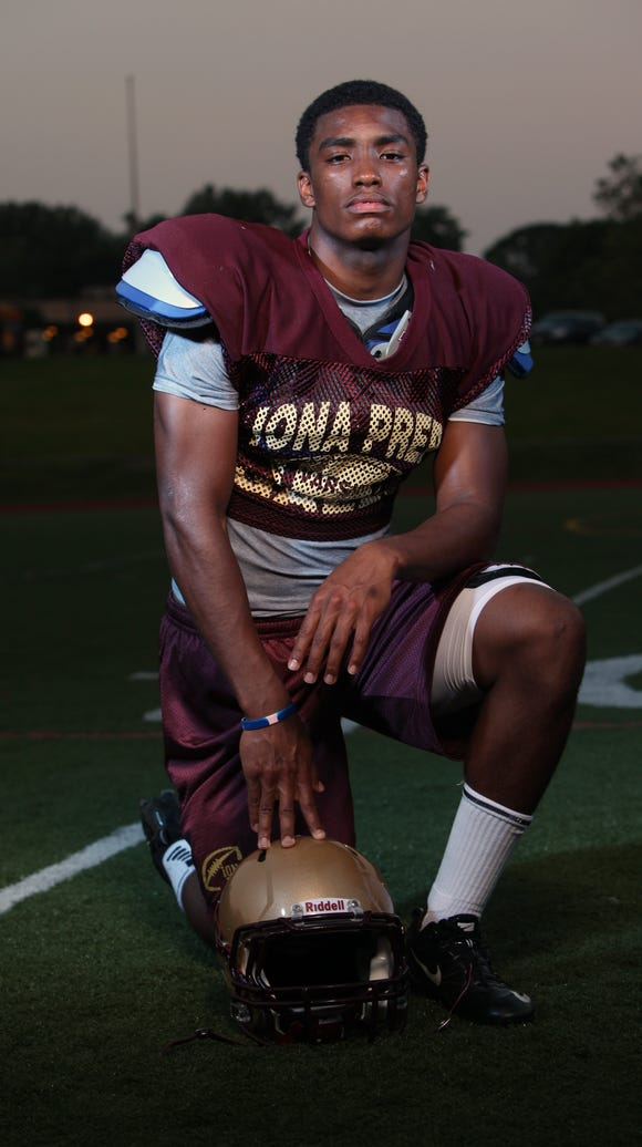 Iona Prep defensive back Chris Cooper is photographed