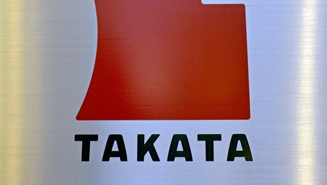 A file picture dated 11 April 2013 shows the logo of Japanese auto-parts supplier Takata Corp. at the company Tokyo headquarters in Tokyo, Japan.  EPA/FRANCK ROBICHON