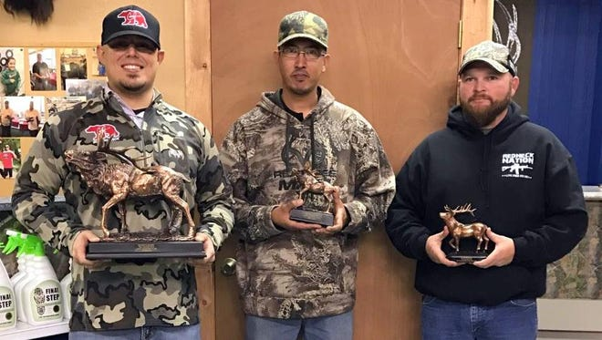 Men's Unlimited Class Champions for the Rockin' R Archery 20016 Fall League are, from left, Charles Turner, 1st  place; Josh Pena, 2nd place; and Gumble Klockgether, third place.