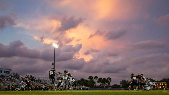 Boca Raton football hosts Dwyer during the 2019 season. Boca Raton High is one of three stadiums chosen to host public high school football games in Palm Beach County this fall.
